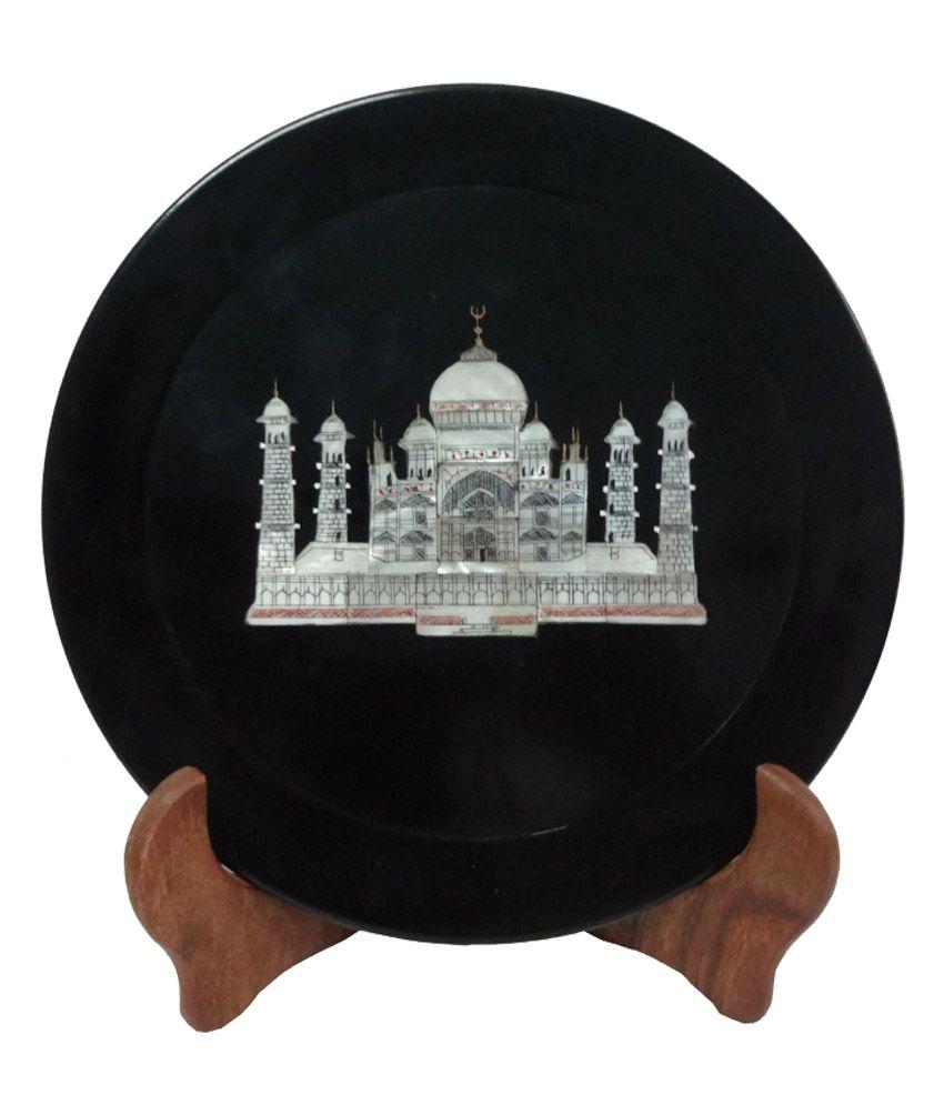 avinash handicrafts black stone plate 5 inch with taj inlay buy