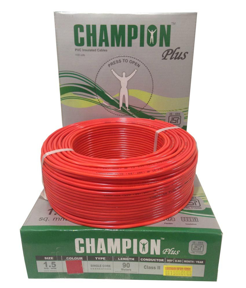 Buy Champion Plus Electric House Copper Wires 15 Sq Mm And Electrical Cable Wiring Pvc Cables Red Color