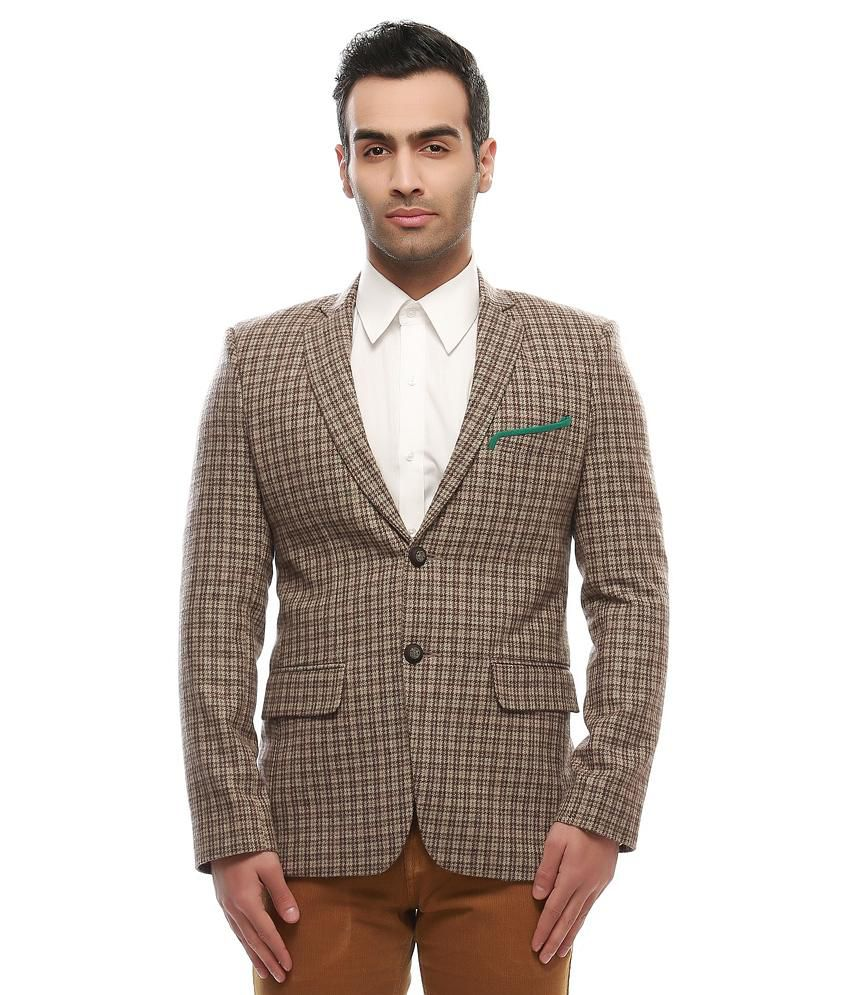 Jogur Brown Cotton Blend Formal Blazer
