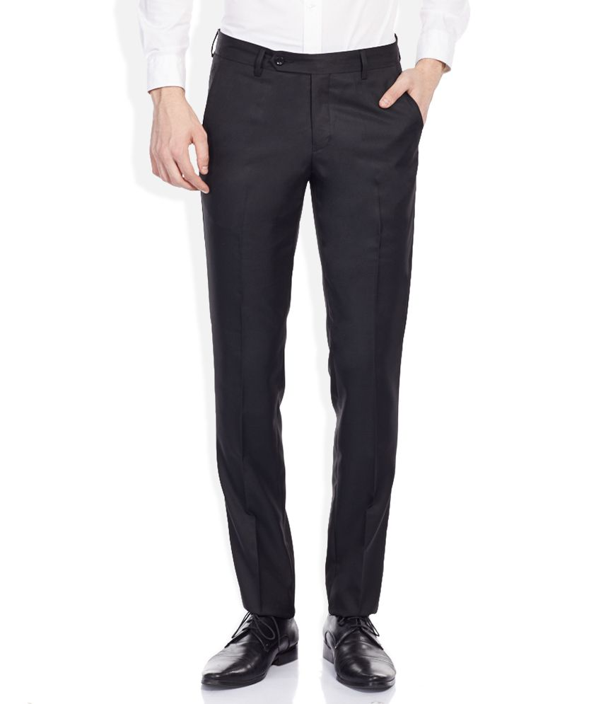 John Players Black Slim Pleated Trousers