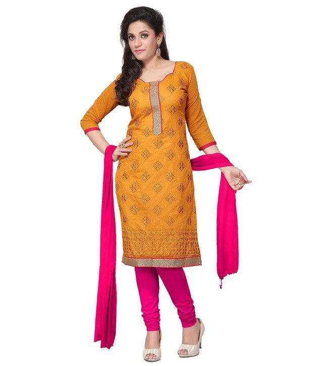 Today Deal Yellow Cotton Unstitched Dress Material