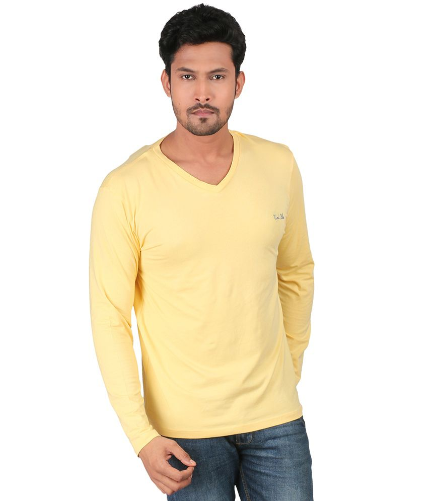 Uniblu Yellow Cotton Full Sleeves V-neck T-shirt