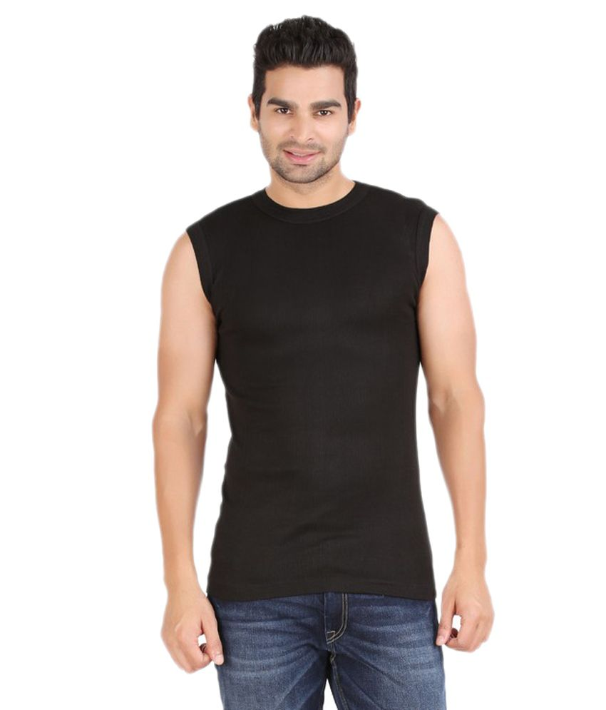 Zippy Sporty Sleeveless BLACK RoundNeck Tshirt