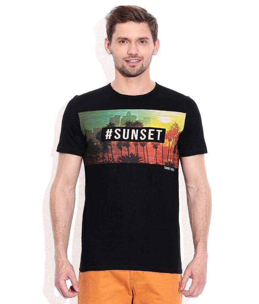 Celio Black Round Neck T Shirt