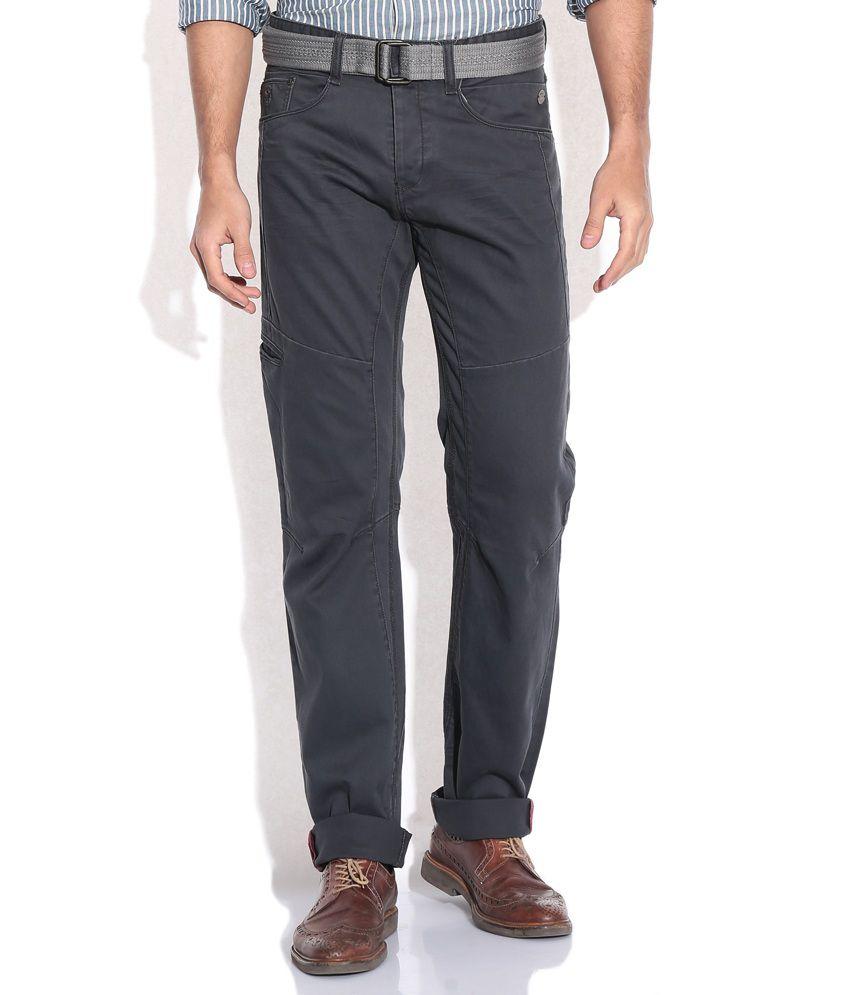 Celio Black Slim Fit Casual Trousers
