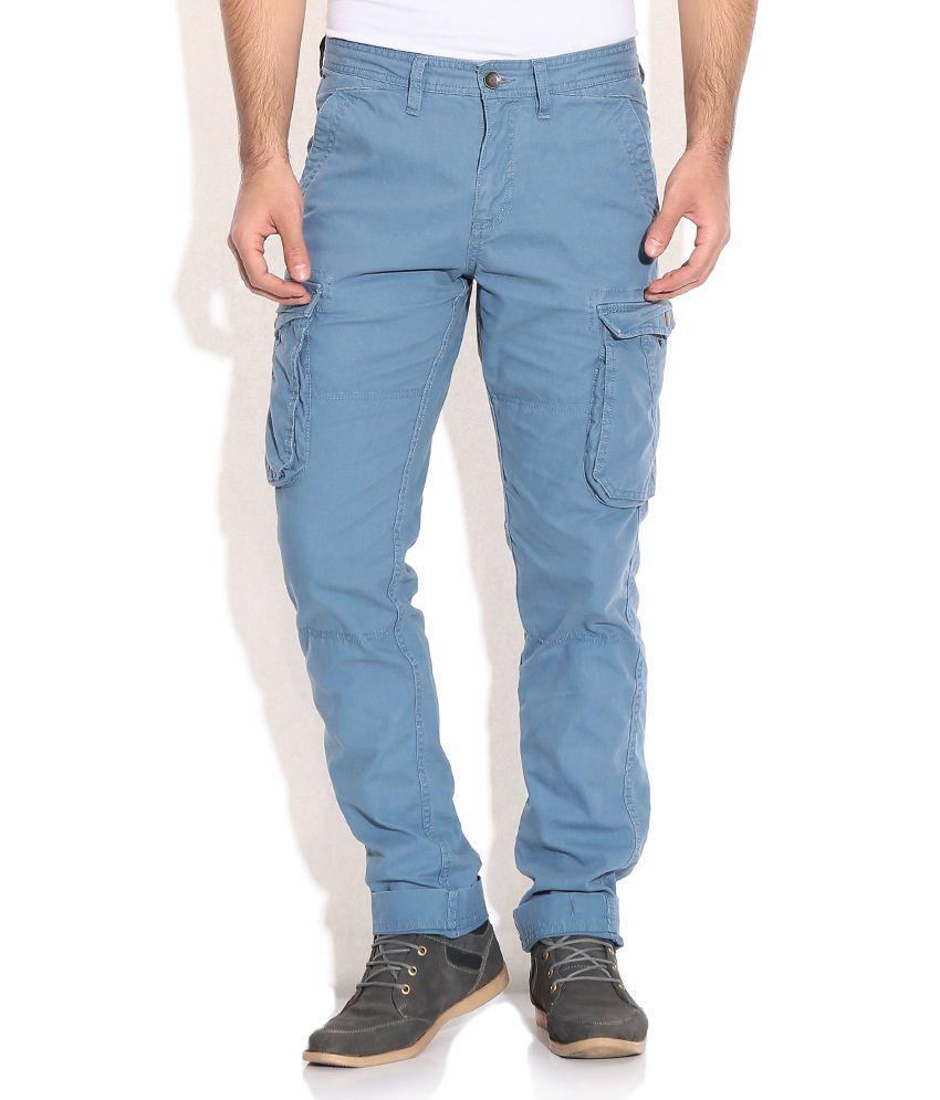 Celio Blue Regular Cargo Trousers