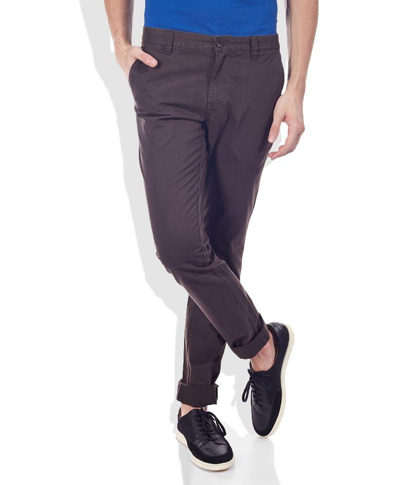 Celio Brown Slim Fit Trousers