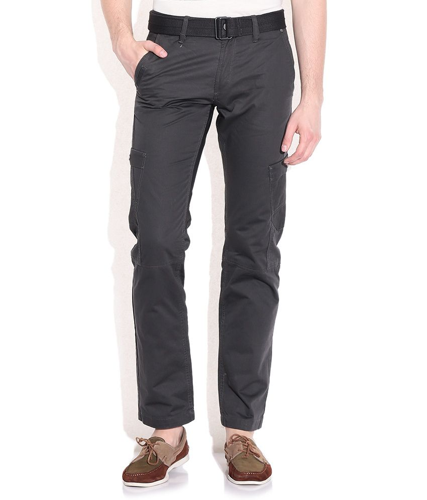 Celio Gray Comfort Fit Cargo Trousers
