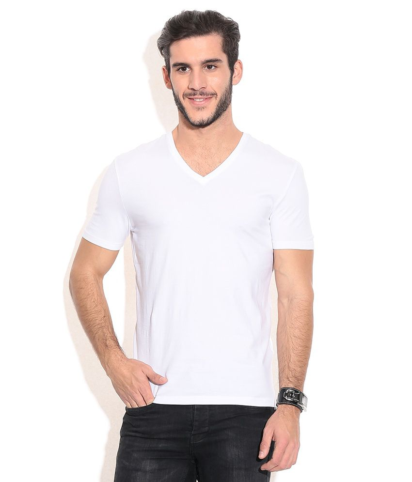 Celio White Cotton Blend T-shirt