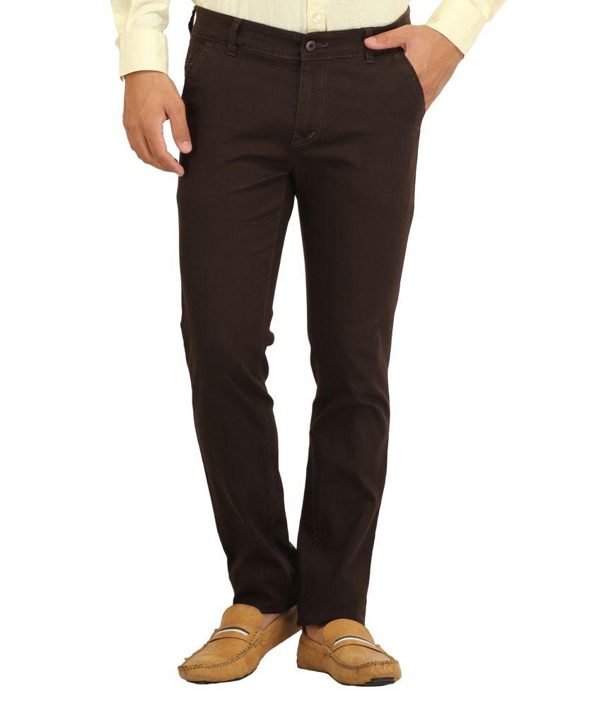 Feels Good Brown Cotton Lycra Slim Fit Trouser