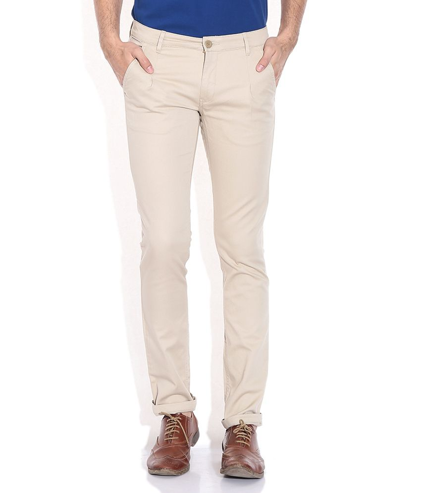 John Players Beige Slim Fit Trouser