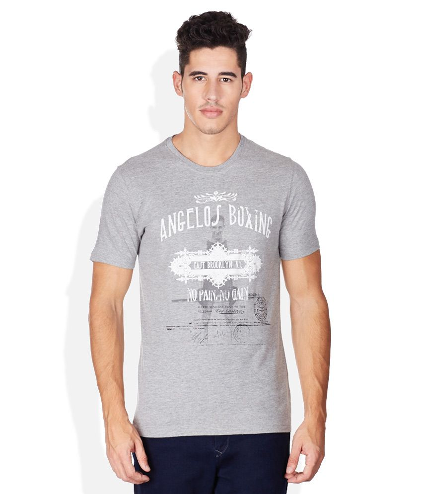 John Players Gray Round Neck T Shirt