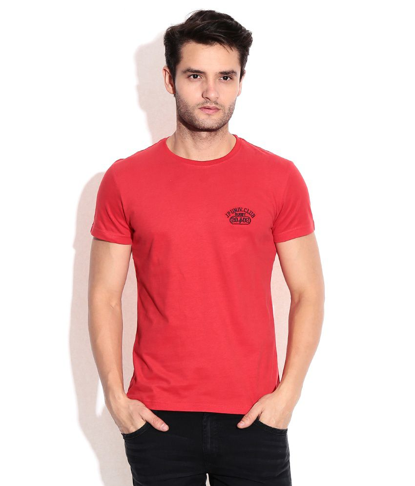 John Players Red Round Neck T Shirt