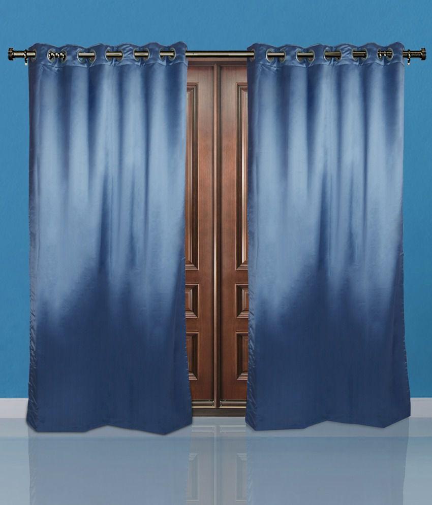 Just Linen Blue Polyester Door Curtain