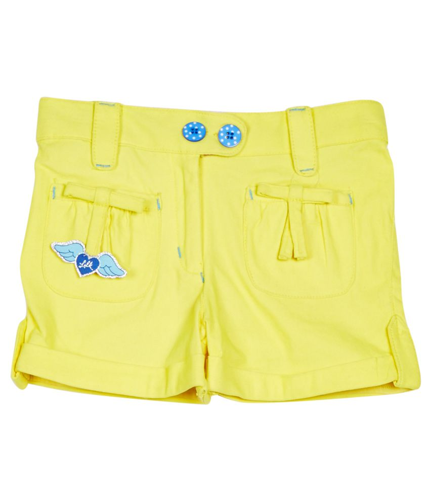 Little Kangaroos Yellow Cotton Blend Shorts