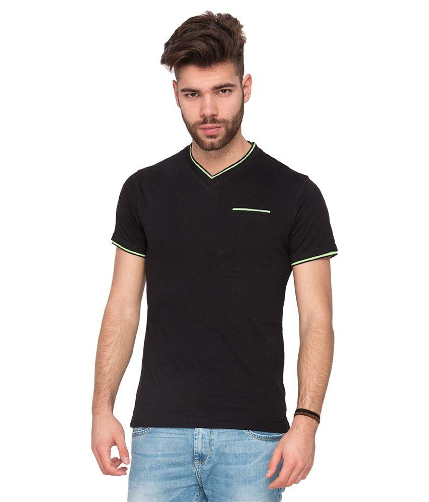 Mufti Black V-Neck T Shirt