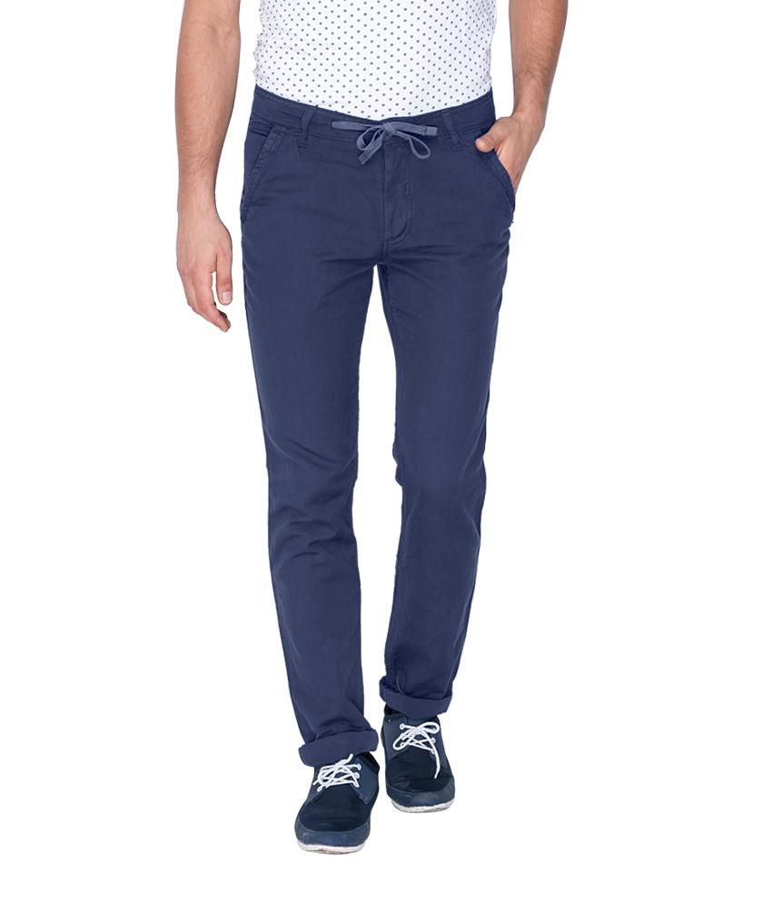 Mufti Blue Regular Flat Trouser