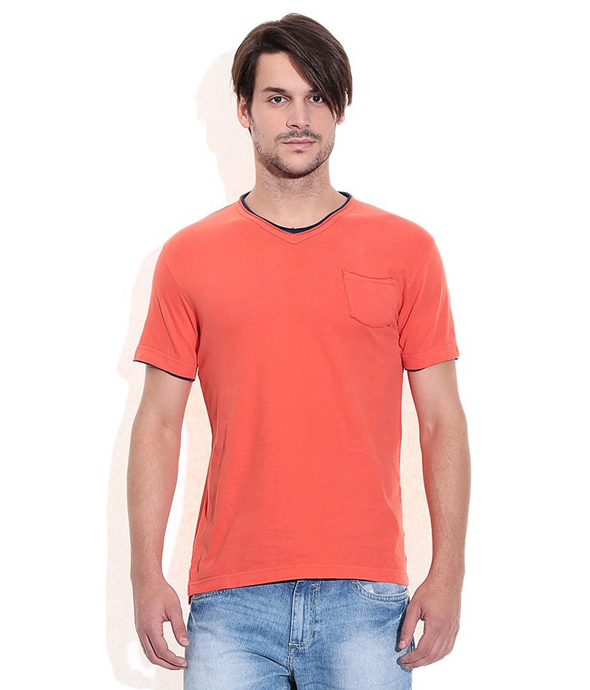 Mufti Orange Round Neck T Shirt