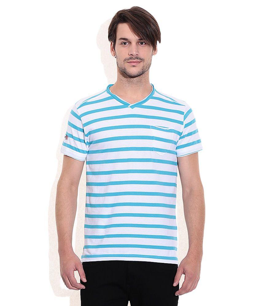 Mufti Turquoise V-Neck T Shirt