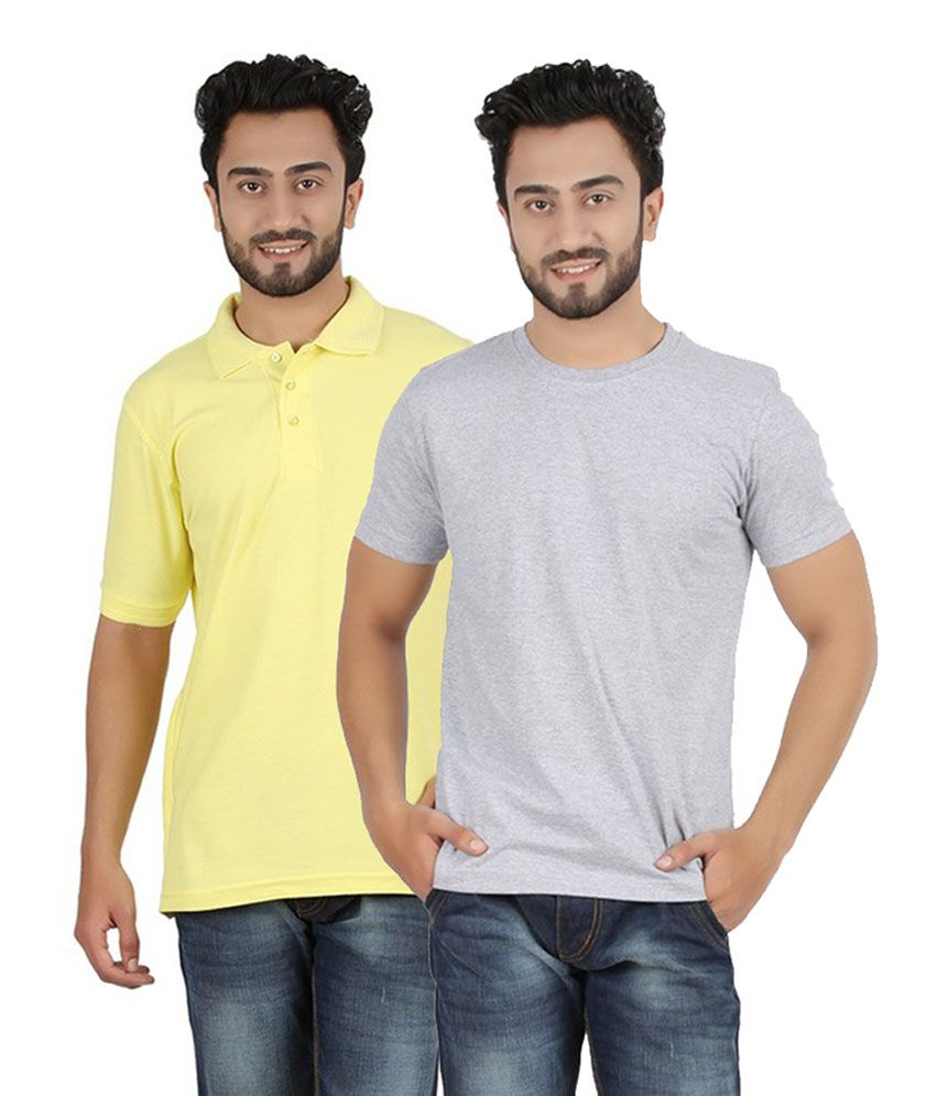 Pulse Gray & Yellow Cotton Men's T-Shirt (Pack of 2)