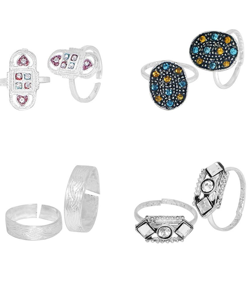 R S Jewels Silver Plated Multi Color Stone Toe Rings - Combo Of 4