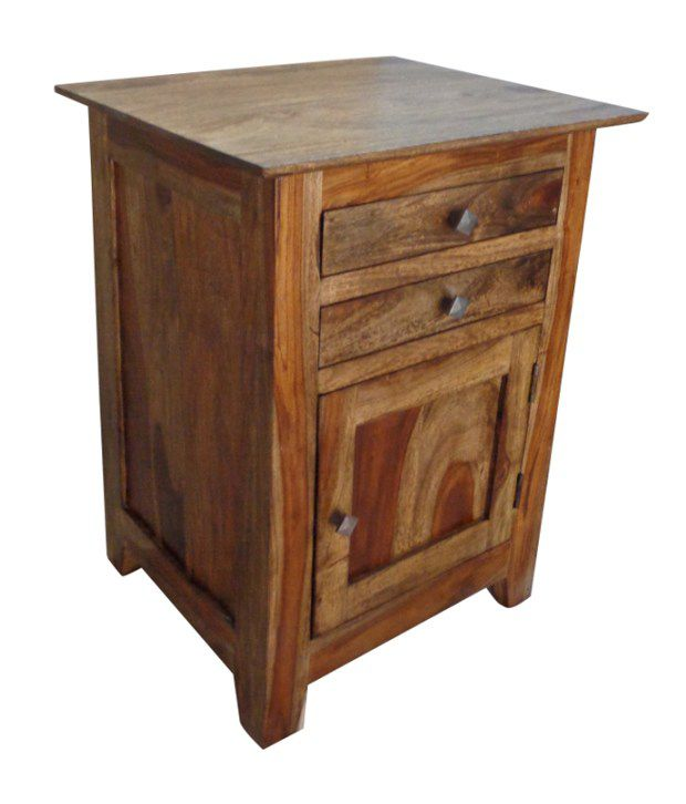 Sheesham Wood Bed Side Table with 2 Drawers & Cabinet