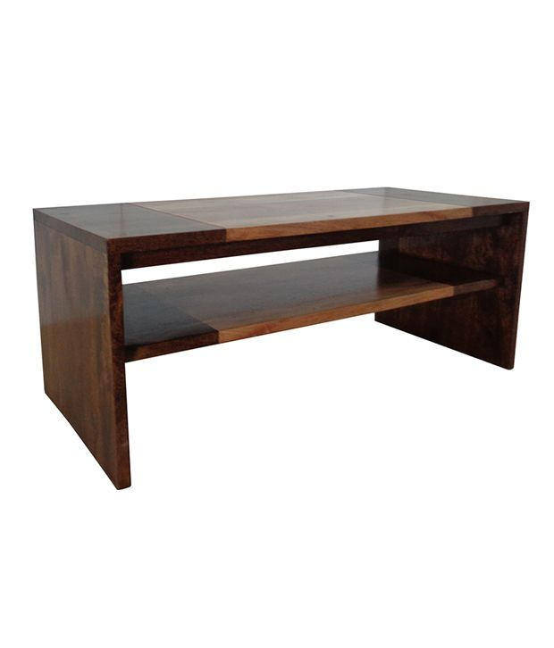 Solid Wood Coffee Table Online India: Solid Wood Coffee Table With Shelf