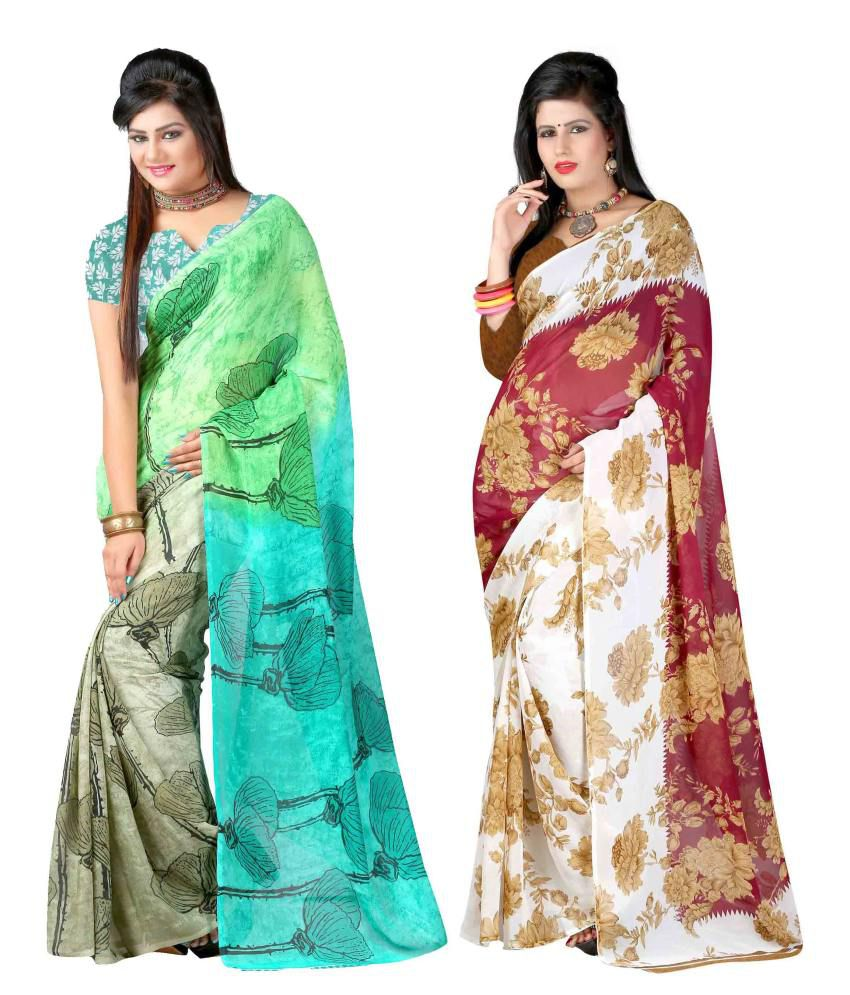 Yashika Multicolor Georgette Pack of 2