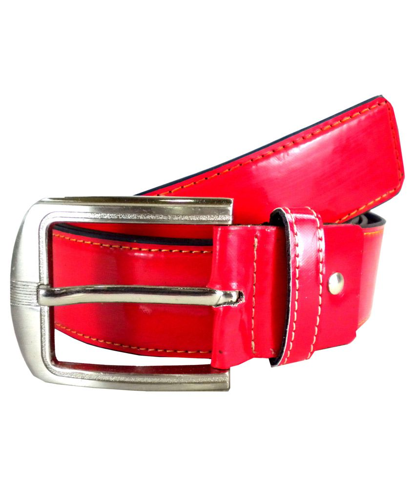Opaque Red Pin Buckle Casual Belt