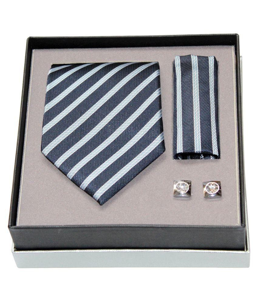 Pharaoh Blue Combo Of Tie,Pocket Square & Cufflink