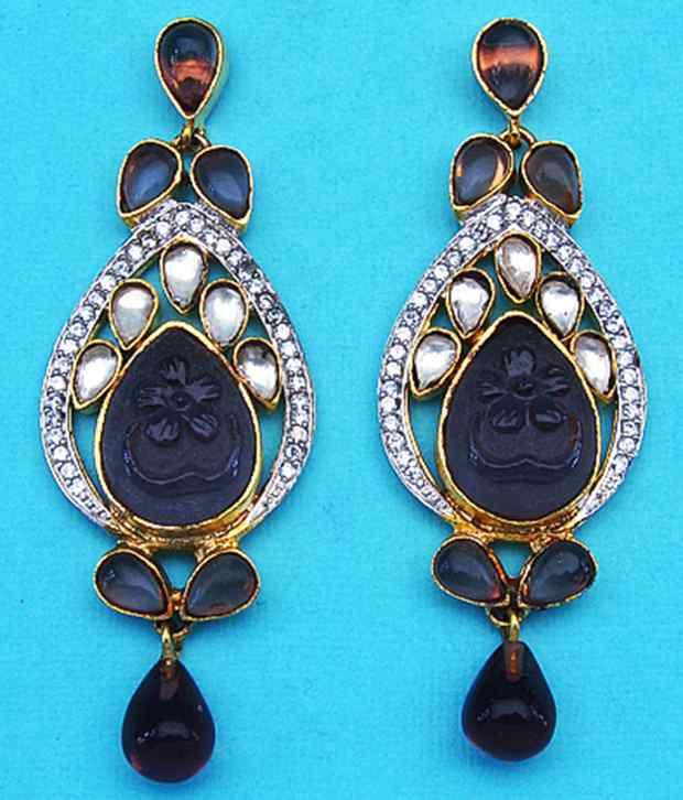 Johareez Blue & Golden Crystal Hanging Earrings