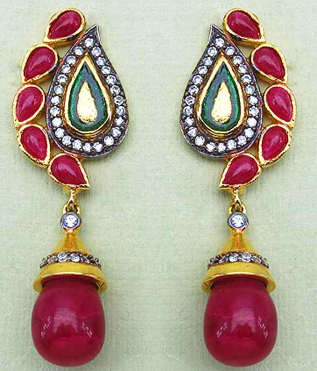 Johareez Pink Stone & CZ Gold Plated Drop Earrings