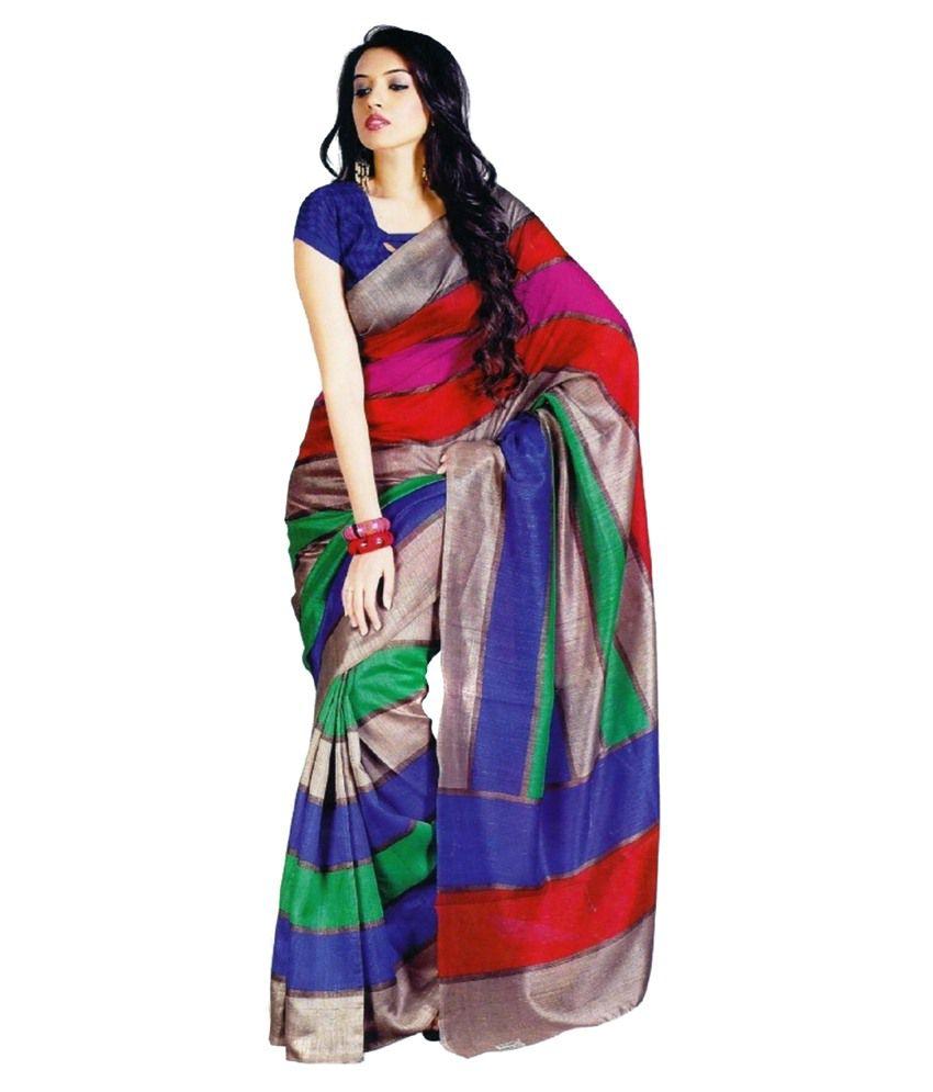 myfab multicoloured bhagalpuri saree buy myfab multicoloured bhagalpuri saree online at low. Black Bedroom Furniture Sets. Home Design Ideas