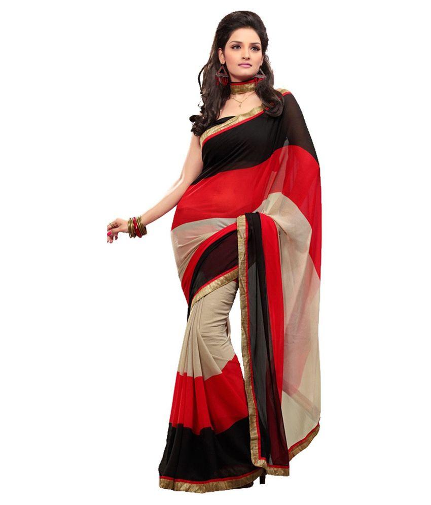 myfab multicoloured chiffon saree buy myfab multicoloured chiffon saree online at low price. Black Bedroom Furniture Sets. Home Design Ideas