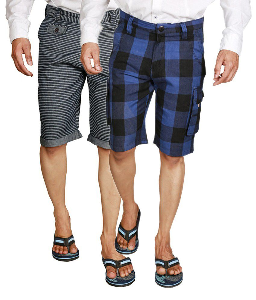 Wajbee Cotton Black & Navy Blue Men's Cargo Shorts (Pack of 2)