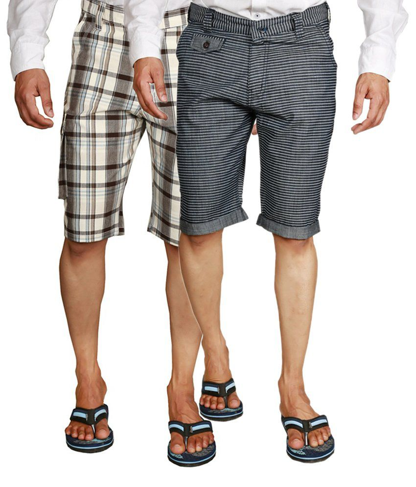 Wajbee Cotton Black and Gray Men's Cargo Shorts (Pack of 2)