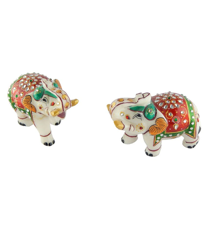 Chave Marble Elephant With Minakari Painting - Set Of 2