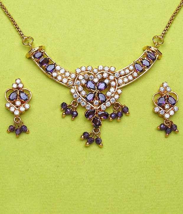 Johareez Chic Gold Plated CZ Necklace Set
