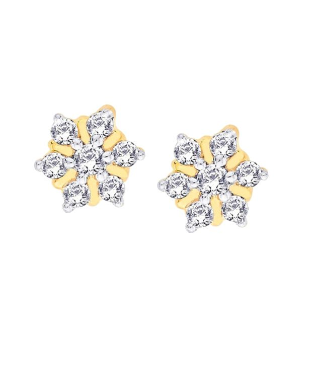 Nakshatra 18KT IGI Floral Diamond Stud Earrings