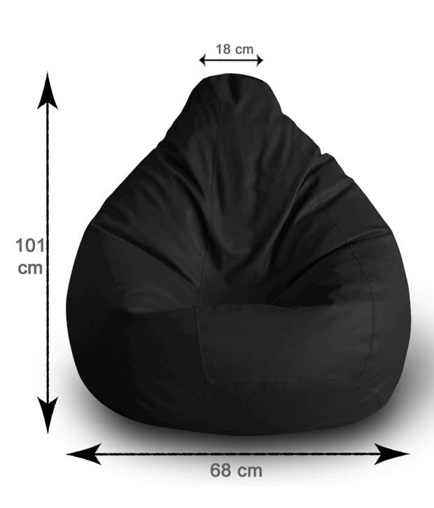 Style Homez Classic Bean Bag L Size Black With Fillers