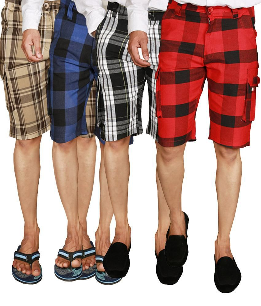 Wajbee Checkered Men's Shorts in Red, Black, Beige & Blue (Pack of 4)