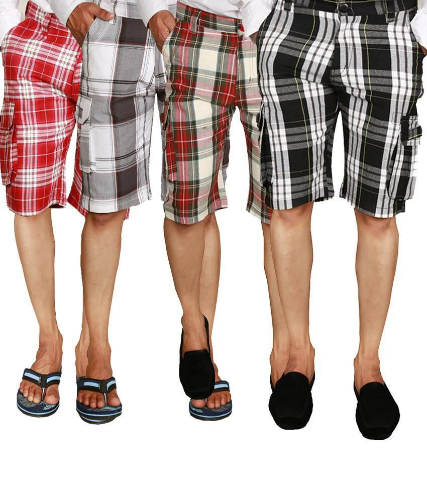 Wajbee Checkered Men's Shorts in Black, Gray, Light & Dark Red (Pack of 4)