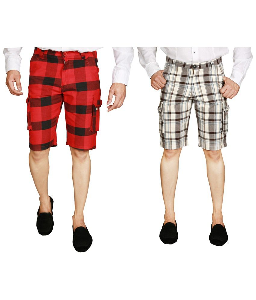 Wajbee Flawless Combo of 2 Red & Gray Checkered Bermuda Shorts for Men