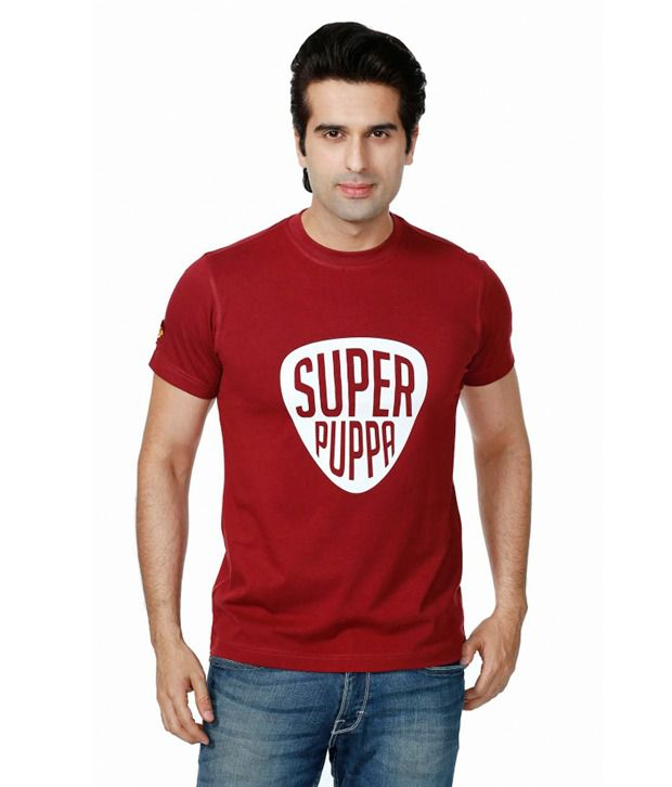 Daddy's Capes Maroon Printed Cotton T-Shirt