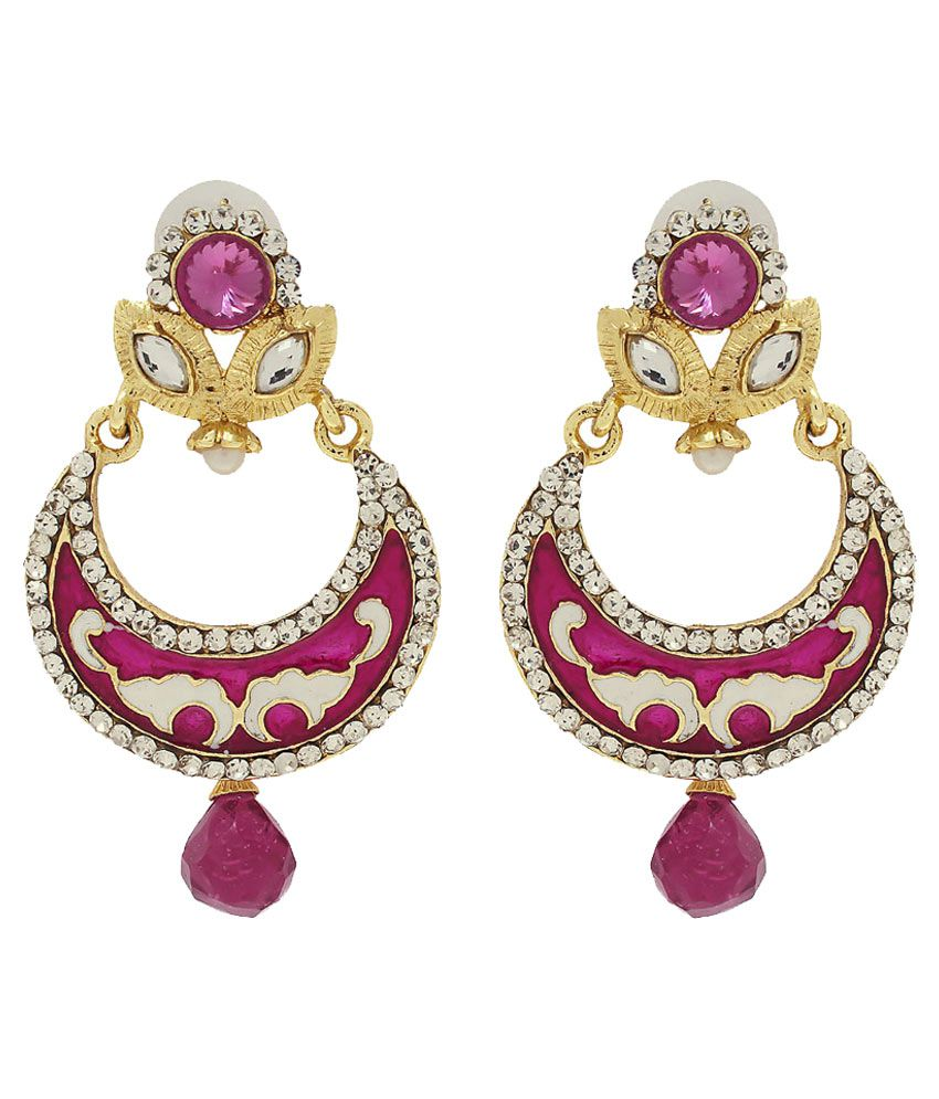 Luxor Pink Alloy Hanging Earrings