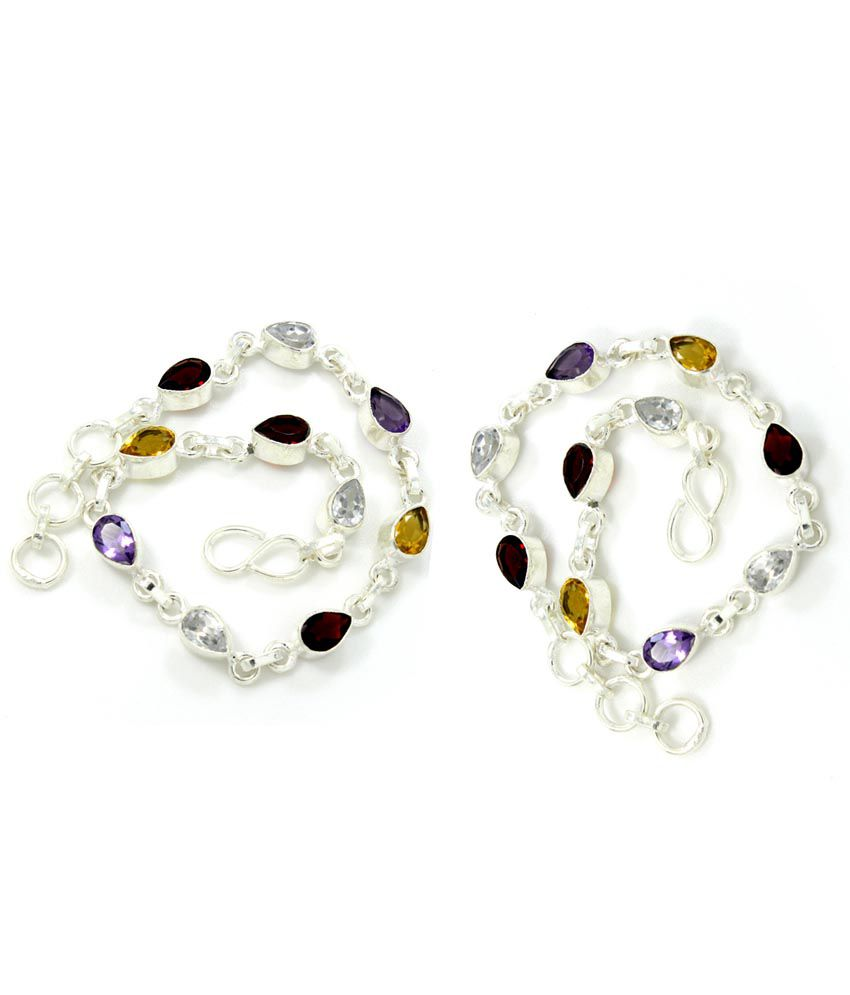 Pehchan Multicolor Bridal German Silver Pair Of Anklets