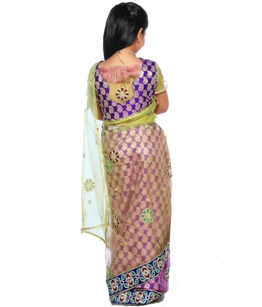 sareegalaxy purple net readymade kids saree with blouse buy