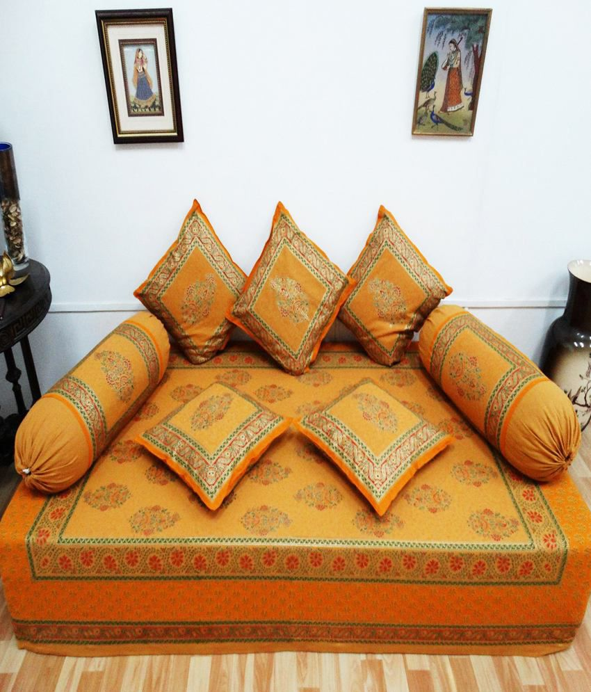 Heritagefabs anokhi orange diwan set single bed sheet for Diwan bed set