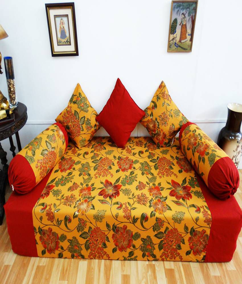 Heritagefabs royal touch red diwan set single bed sheet for Single bed diwan set