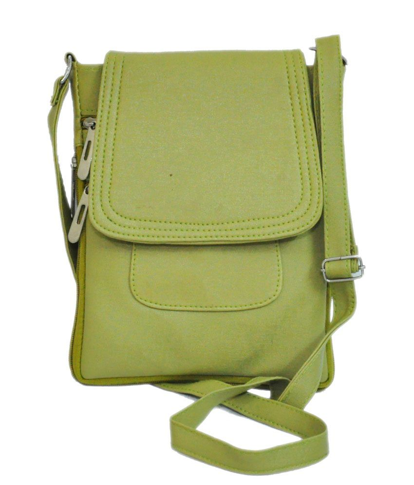 Indian Creations Green Non Leather Sling Bag